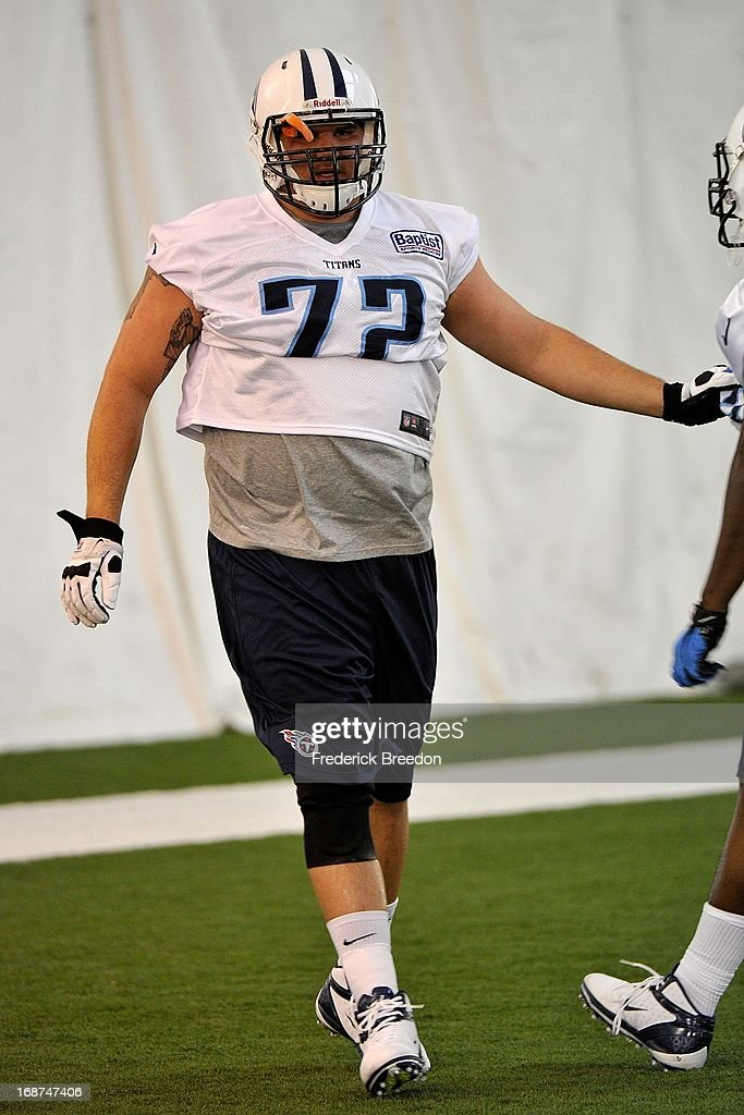 Center Eloy Atkinson #72 of the Tennessee Titans attends rookie camp on May 10, 2013 in Nashville, Tennessee.