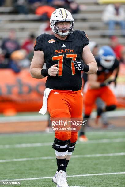 Center Ethan Pocic from LSU of the South Team during the 2017 Resse's Senior Bowl at LaddPeebles Stadium on January 28 2017 in Mobile Alabama The...