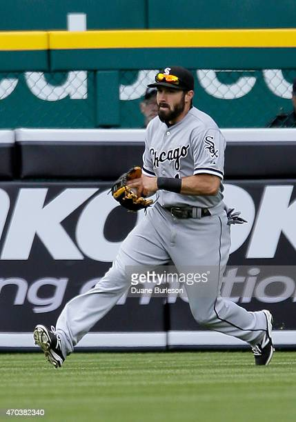 Center fielder Adam Eaton of the Chicago White Sox fields a single by Victor Martinez of the Detroit Tigers during the first inning at Comerica Park...