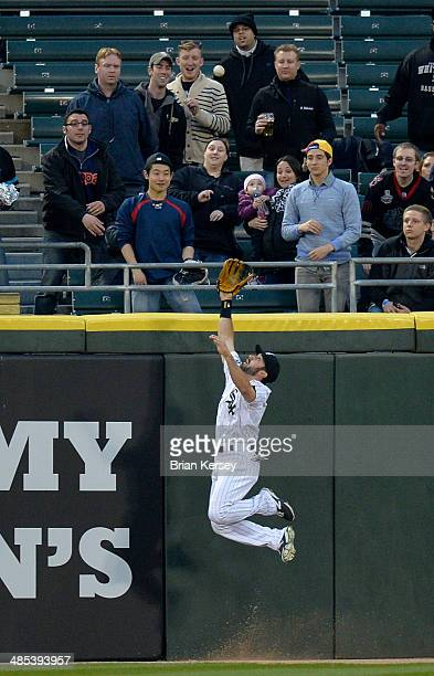 Center fielder Adam Eaton of the Chicago White Sox robs David Ortiz of the Boston Red Sox of a home run during the first inning at US Cellular Field...