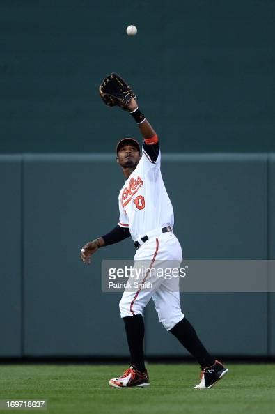 Center fielder Adam Jones of the Baltimore Orioles against the Washington Nationals during an interleague game at Oriole Park at Camden Yards on May...