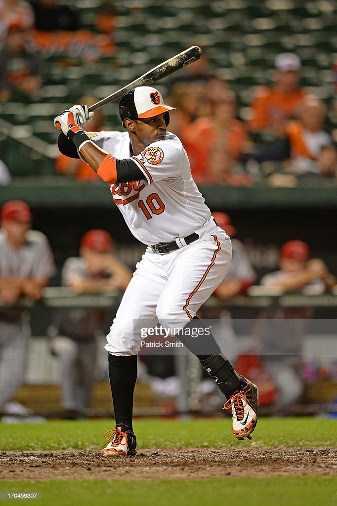 Center fielder Adam Jones #10 of the Baltimore Orioles bats against the Los Angeles Angels of Anaheim at Oriole Park at Camden Yards on June 10, 2013 in Baltimore, Maryland.