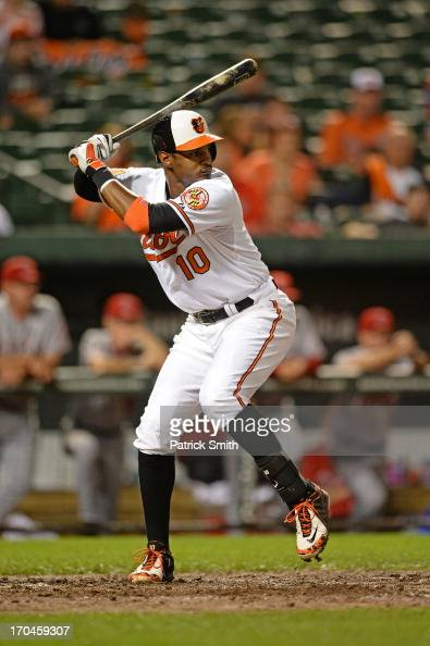 Center fielder Adam Jones of the Baltimore Orioles bats against the Los Angeles Angels of Anaheim at Oriole Park at Camden Yards on June 10 2013 in...
