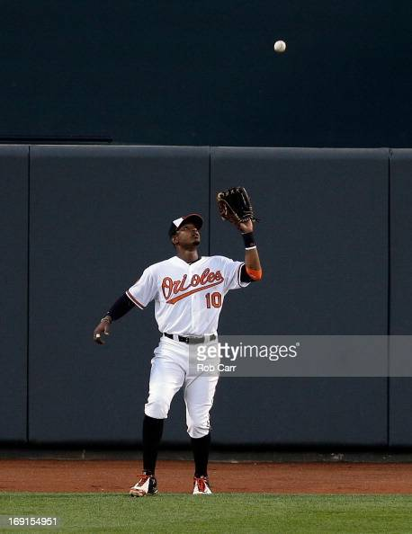 Center fielder Adam Jones of the Baltimore Orioles makes a catch against the New York Yankees at Oriole Park at Camden Yards on May 20 2013 in...