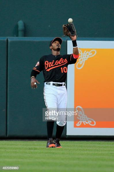 Center fielder Adam Jones of the Baltimore Orioles makes a catch against the New York Yankees at Oriole Park at Camden Yards on July 11 2014 in...