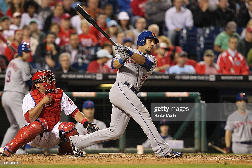 Center fielder <a gi-track='captionPersonalityLinkClicked' href=/galleries/search?phrase=Andres+Torres&family=editorial&specificpeople=835839 ng-click='$event.stopPropagation()'>Andres Torres</a> #56 of the New York Mets bats during a game against the Philadelphia Phillies at Citizens Bank Park on May 8, 2012 in Philadelphia, Pennsylvania. The Mets won 7-4.
