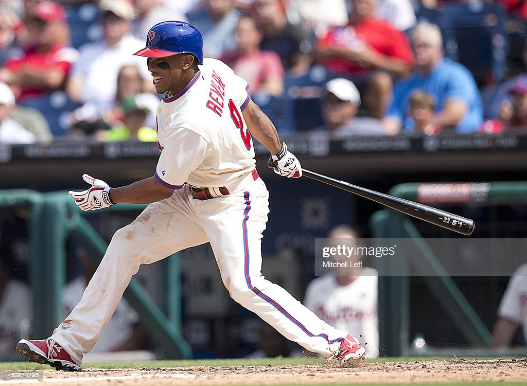 Center fielder <a gi-track='captionPersonalityLinkClicked' href=/galleries/search?phrase=Ben+Revere&family=editorial&specificpeople=6826641 ng-click='$event.stopPropagation()'>Ben Revere</a> #2 of the Philadelphia Phillies hits an RBI ground out in the bottom of the fourth inning against the Seattle Mariners on August 20, 2014 at Citizens Bank Park in Philadelphia, Pennsylvania.