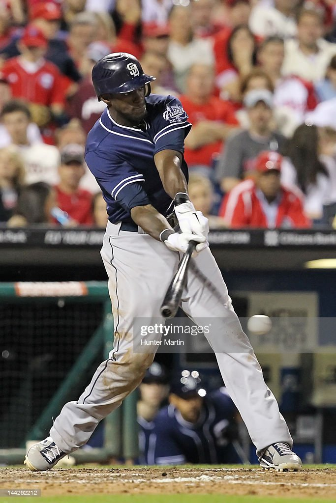Center fielder <a gi-track='captionPersonalityLinkClicked' href=/galleries/search?phrase=Cameron+Maybin&family=editorial&specificpeople=2364846 ng-click='$event.stopPropagation()'>Cameron Maybin</a> #24 of the San Diego Padres bats during a game against the Philadelphia Phillies at Citizens Bank Park on May 12, 2012 in Philadelphia, Pennsylvania.