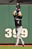 Center fielder Corey Dickerson of the Colorado Rockies catches a popfly from Mac Williamson of the San Francisco Giants in the sixth inning inning at...