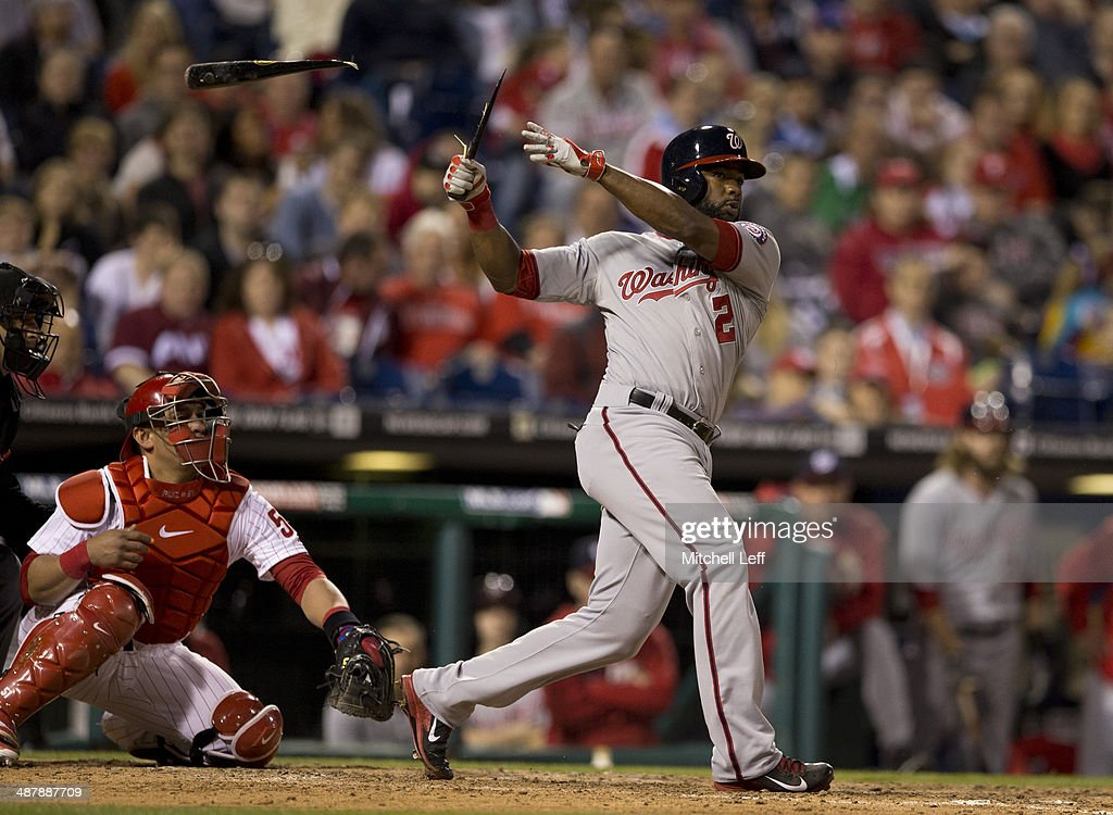 Center fielder Denard Span #2 of the Washington Nationals hits a broken bat double in the eighth inning against the Philadelphia Phillies on May 2, 2014 at Citizens Bank Park in Philadelphia, Pennsylvania.