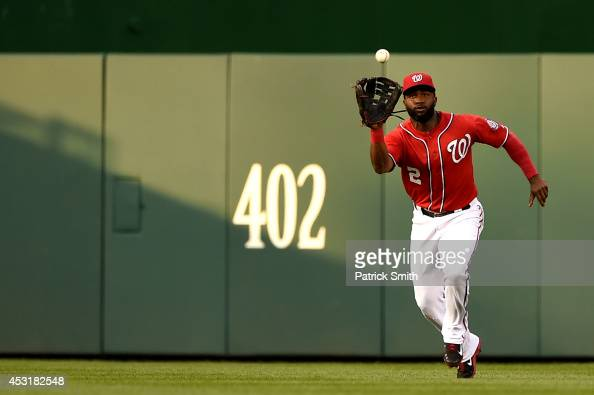 Center fielder Denard Span of the Washington Nationals makes a catch in the second inning against the Baltimore Orioles at Nationals Park on August 4...