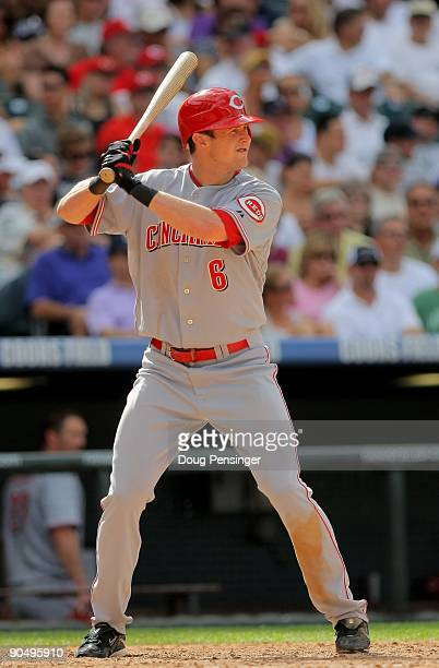 Center fielder Drew Stubbs of the Cincinnati Reds takes an at bat against the Colorado Rockies at Coors Field on September 7 2009 in Denver Colorado...
