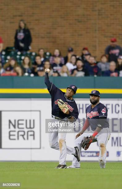 Center fielder Greg Allen of the Cleveland Indians throws in the single hit by Mikie Mahtook of the Detroit Tigers that Allen made a sliding attempt...