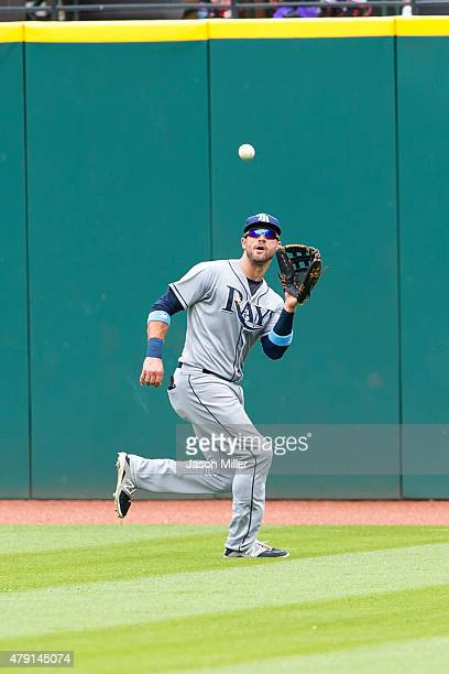 Center fielder Kevin Kiermaier of the Tampa Bay Rays catches a fly ball hit by Mike Aviles of the Cleveland Indians during the sixth inning at...