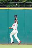 Center fielder Michael Bourn of the Cleveland Indians catches a fly ball hit by Curt Casali of the Tampa Bay Rays during the eighth inning at...