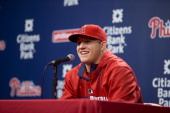 Center fielder Mike Trout of the Los Angeles Angels of Anaheim talks to the press prior to the game against the Philadelphia Phillies on May 13 2014...