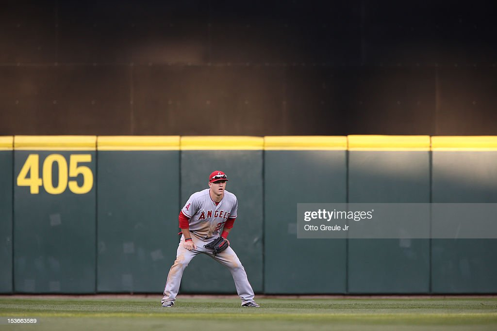 Center fielder Mike Trout #27 of the Los Angeles Angels of Anaheim watches the pitch during the game against the Seattle Mariners at Safeco Field on October 3, 2012 in Seattle, Washington.