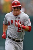 Center fielder Mike Trout of the Los Angeles Angels of Anaheim against the Baltimore Orioles at Oriole Park at Camden Yards on June 12 2013 in...