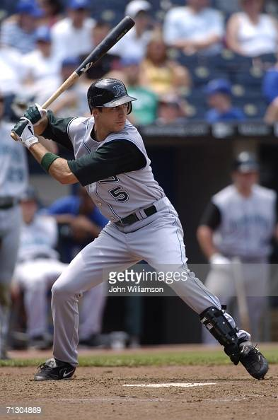 Center fielder Rocco Baldelli of the Tampa Bay Devil Rays bats during the game against the Kansas City Royals at Kauffman Stadium on June 10 2006 in...