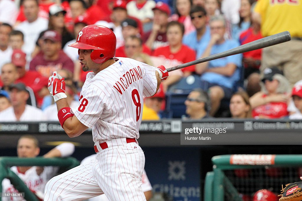 Center fielder <a gi-track='captionPersonalityLinkClicked' href=/galleries/search?phrase=Shane+Victorino&family=editorial&specificpeople=576251 ng-click='$event.stopPropagation()'>Shane Victorino</a> #8 of the Philadelphia Phillies bats during a game against the Pittsburgh Pirates at Citizens Bank Park on June 25, 2012 in Philadelphia, Pennsylvania. The Phillies won 8-3.