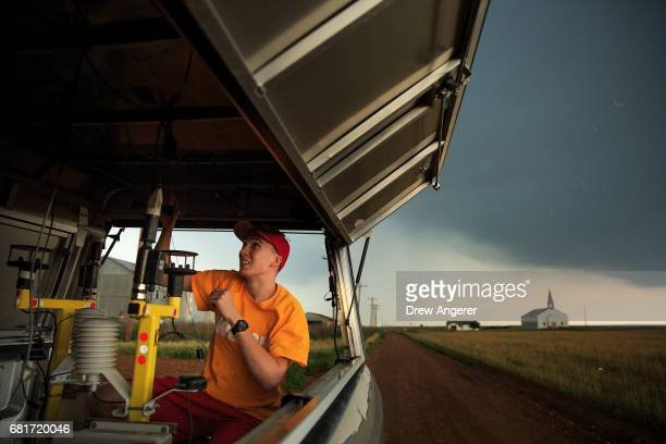 Center for Severe Weather Research intern Hunter Anderson prepares tornado pods as a severe thunderstorm moves into the area in Paducah Texas May 10...