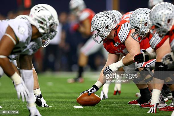 Center Jacoby Boren of the Ohio State Buckeyes prepares to snap the ball against the Oregon Ducks during the College Football Playoff National...