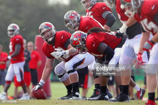 Center Joe Hawley checks on the offensive line during the Tampa Bay Buccaneers Training Camp on August 2017 at One Buccaneer Place in Tampa Florida