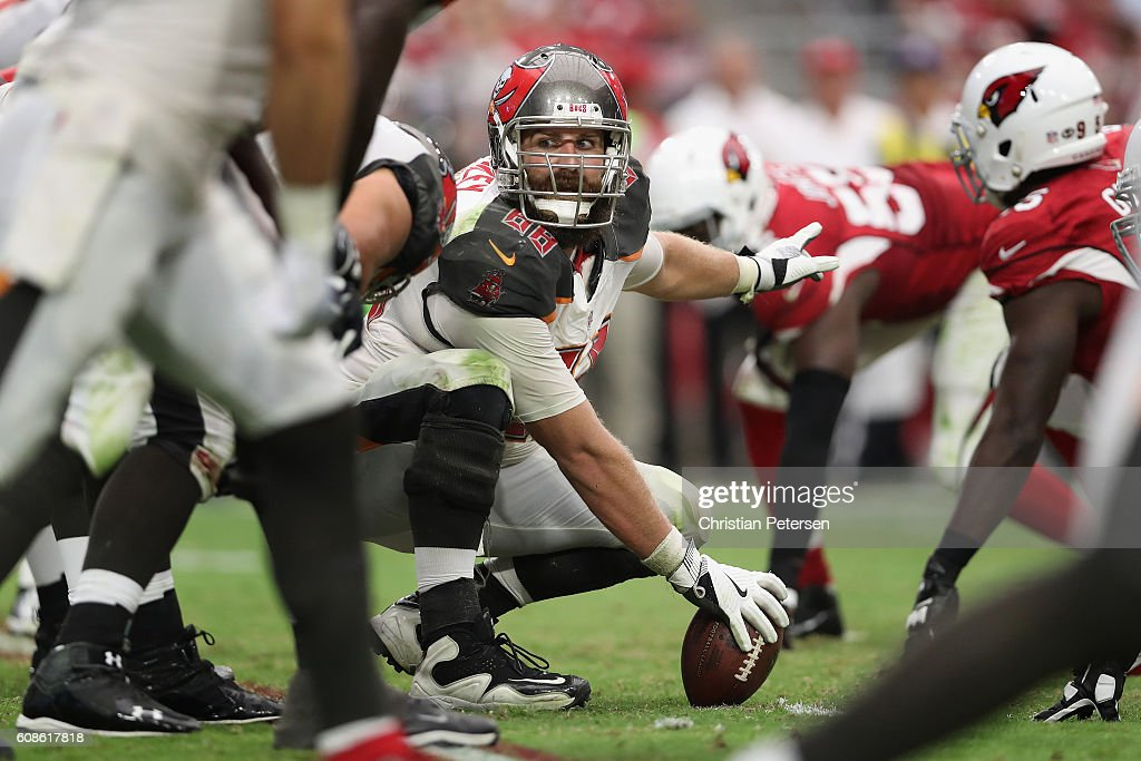 Center Joe Hawley #68 of the Tampa Bay Buccaneers prepares to snap the football during the NFL game against the Tampa Bay Buccaneers at the University of Phoenix Stadium on September 18, 2016 in Glendale, Arizona. The Cardinals defeated the Buccaneers 40-7.