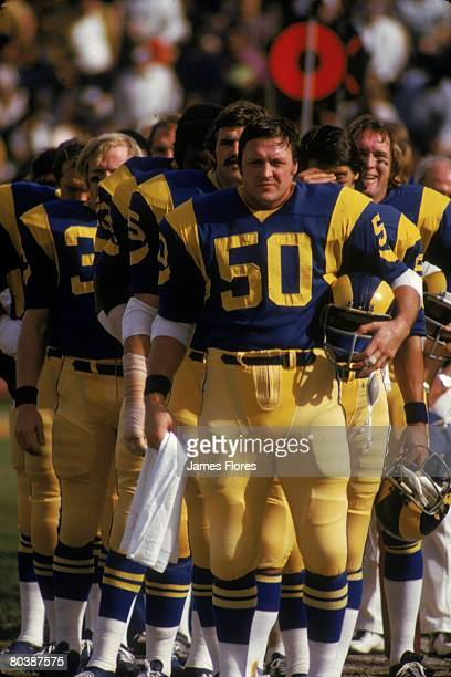 Center Ken Iman of the Los Angeles Rams stands during the National Anthem prior to an NFL game against the Atlanta Falcons at the Los Angeles...