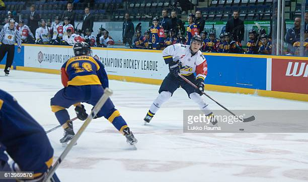 Center Lias Andersson of Jonkoping looks for a shot during the Champions Hockey League Round of 32 match between Lukko Rauma and HV71 Jonkoping at...