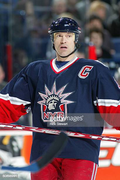 Center Mark Messier of the New York Rangers is on the ice during the game against the Buffalo Sabres at HSBC Arena on January 31 2004 in Buffalo New...