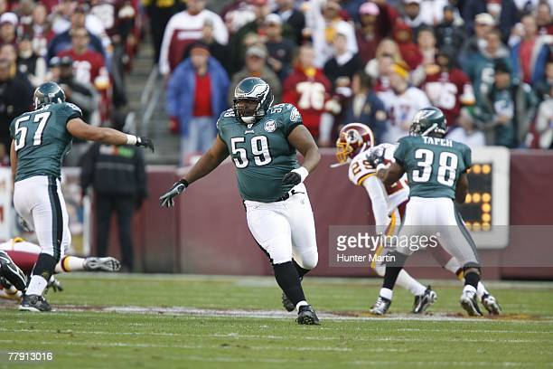 Center Nick Cole of the Philadelphia Eagles runs downfield on punt return coverage during a game against the Washington Redskins on November 11 2007...