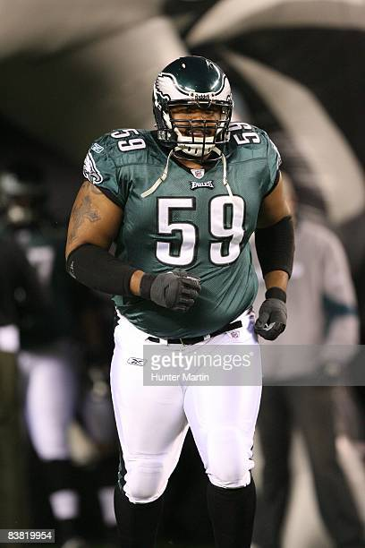 Center Nick Cole of the Philadelphia Eagles runs onto the field during player introductions before a game against the New York Giants on November 9...