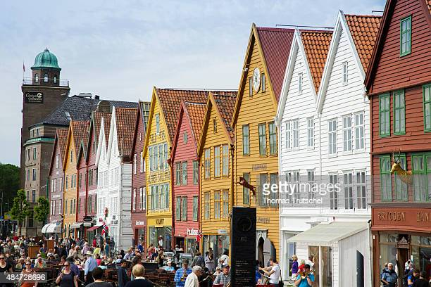 Center of Bergen touristic spot close to the habor on July 17 2015 in Bergen Norway