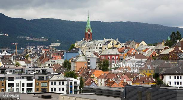 Center of Bergen touristic spot close to the habor on July 20 2015 in Bergen Norway