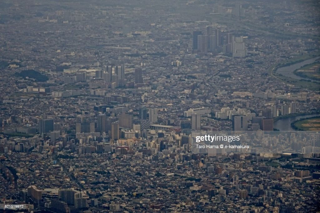 Center of Kawasaki city in Kanagawa prefecture daytime aerial view from airplane : ストックフォト