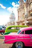 Retro cars parked near Gran Teatro and el Capitolio in the center of La Havana, Cuba
