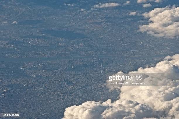 Center of Osaka city, daytime aerial view from airplane