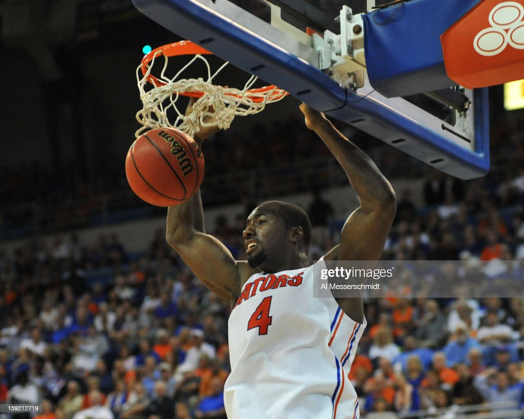 Center Patric Young #4 of the Florida Gators dunks against the Georgia Bulldogs January 9, 2013 at Stephen C. O'Connell Center in Gainesville, Florida. Florida won 77 - 44.