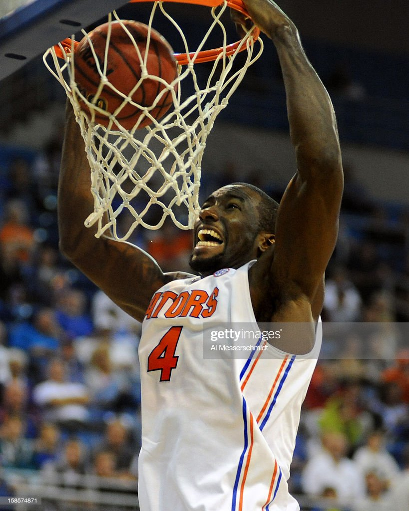 Center Patric Young #4 of the Florida Gators dunks for a basket against the Southeastern Louisiana Lions December 19, 2012 at Stephen C. O'Connell Center in Gainesville, Florida. The Gators won 82 - 43.