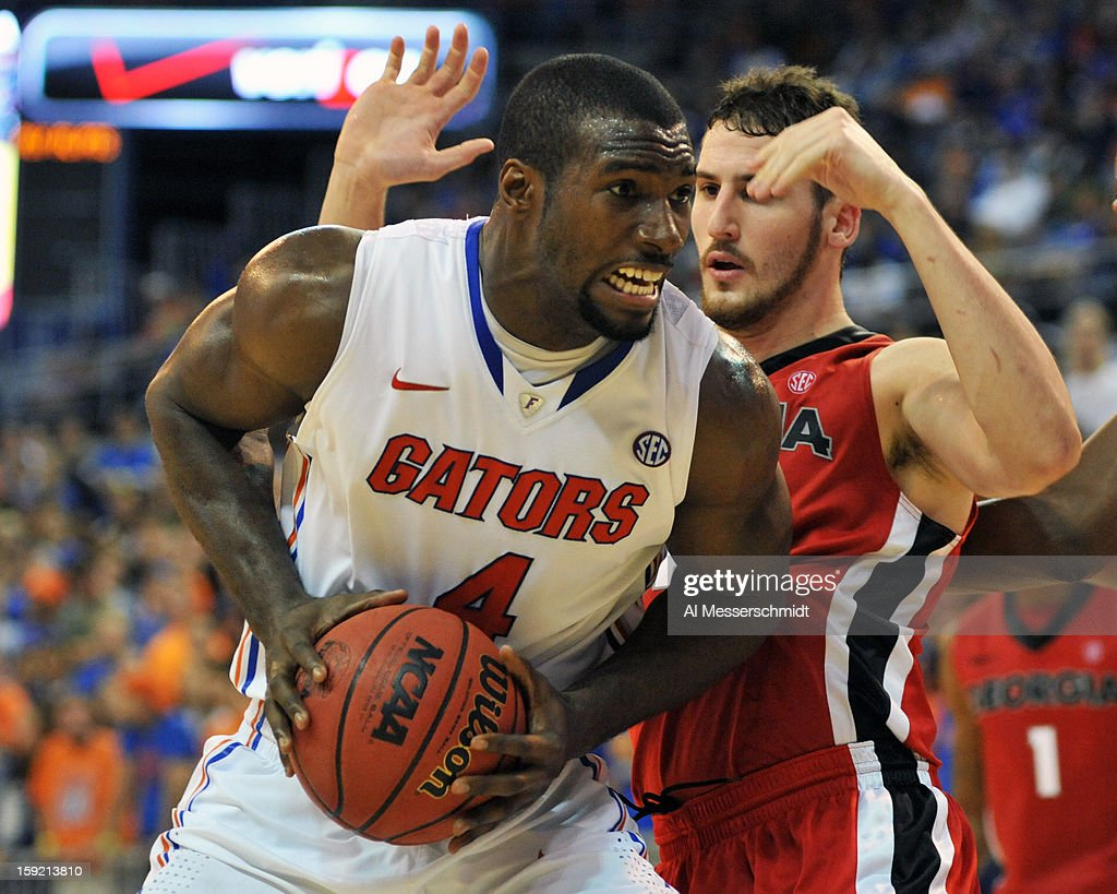 Center Patric Young #4 of the Florida Gators sets for a shot under the basket against the Georgia Bulldogs January 9, 2013 at Stephen C. O'Connell Center in Gainesville, Florida. Florida won 77 - 44.