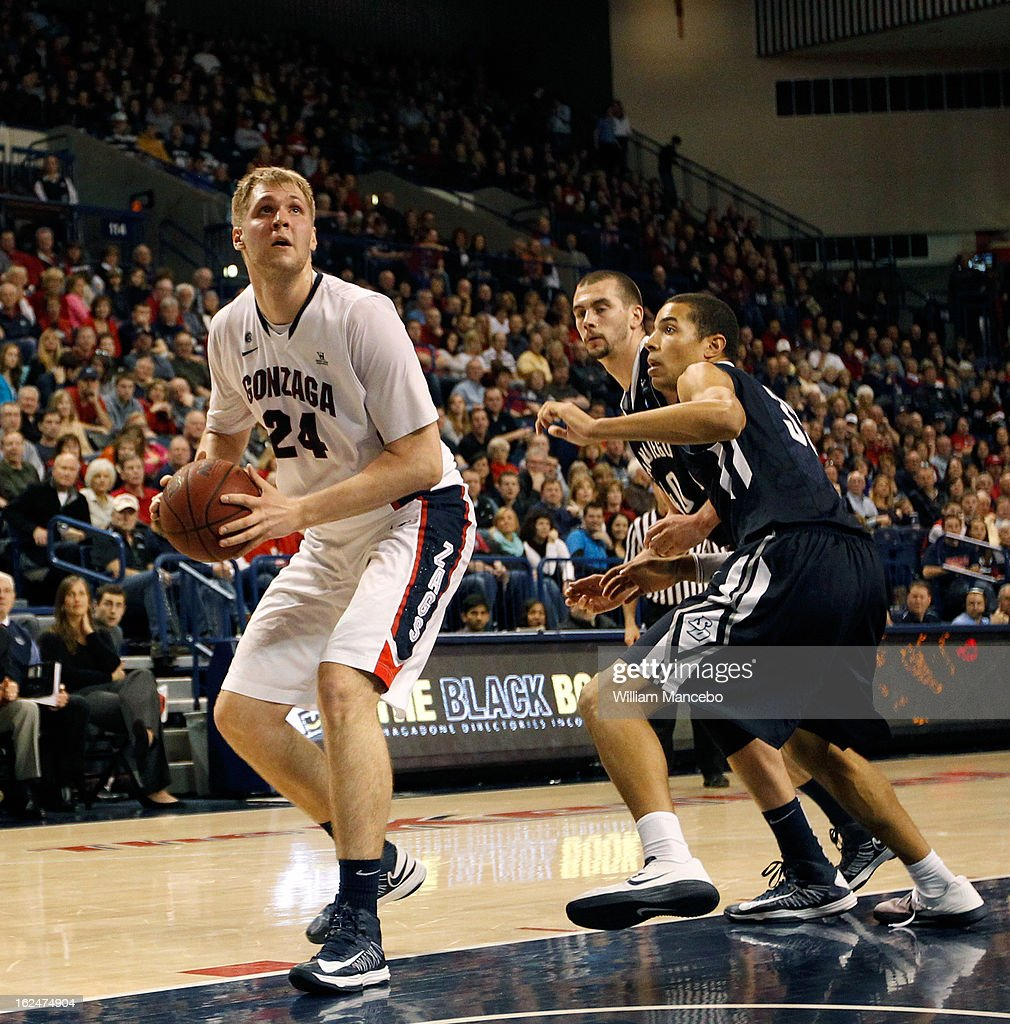 Center Przemek Karnowski #24 of the Gonzaga Bulldogs looks to shoot during the second half of the game against the San Diego Toreros at McCarthey Athletic Center on February 23, 2013 in Spokane, Washington.