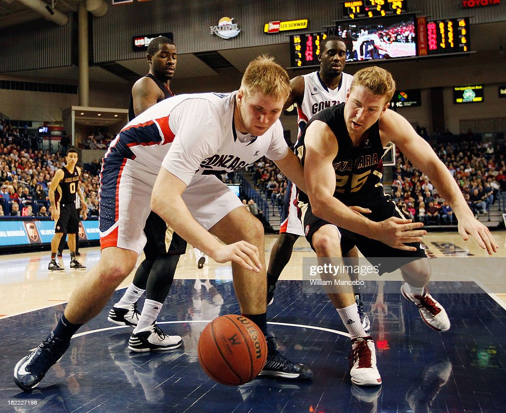 Center Przemek Karnowski #24 of the Gonzaga Bulldogs plays against forward John McArthur #25 of the Santa Clara Broncos during the second half of the game at McCarthey Athletic Center on February 20, 2013 in Spokane, Washington.