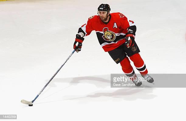 Center Radek Bonk of the Ottawa Senators skates with the puck during the NHL preseason game against the Toronto Maple Leafs on September 22 2002 at...
