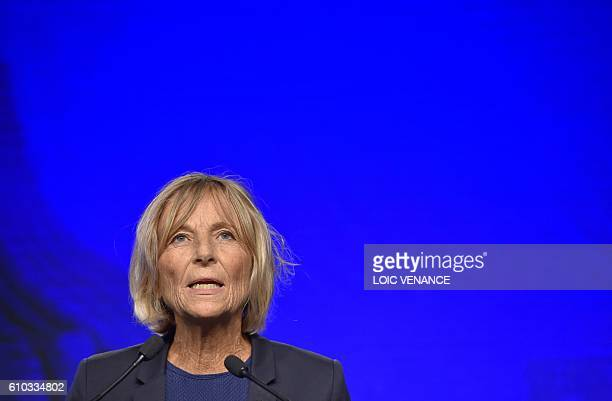 Center right party Modem deputy president Marielle de Sarnez gives a speech during the movement's 'Universites de rentrees' on September 25 2016 in...