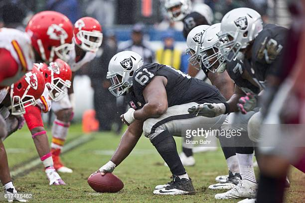 Center Rodney Hudson of the Oakland Raiders waits to snap the ball against the Kansas City Chiefs in the fourth quarter on October 16 2016 at...