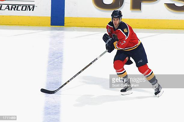 Center Ryan Johnson of the Florida Panthers skates against the Atlanta Thrashers during the NHL game on November 19 2002 at Philips Arena in Atlanta...