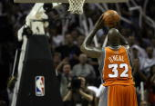 Center Shaquille O'Neal of the Phoenix Suns takes a freethrow against the San Antonio Spurs in Game Two of the Western Conference Quarterfinals...
