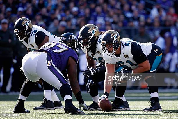 Center Stefen Wisniewski of the Jacksonville Jaguars lines up against Timmy Jernigan of the Baltimore Ravens at MT Bank Stadium on November 15 2015...