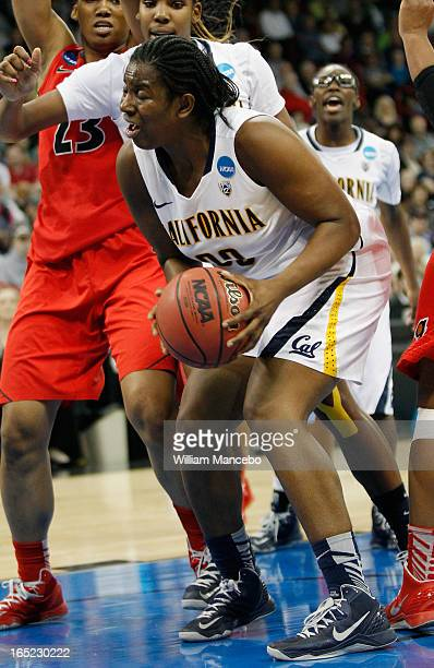 Center Talia Caldwell of the California Golden Bears plays against the Georgia Lady Bulldogs during the NCAA Division I Women's Basketball Regional...